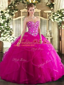 Decent Ball Gowns Ball Gown Prom Dress Fuchsia Sweetheart Tulle Sleeveless Floor Length Lace Up