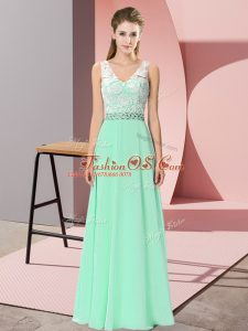 New Arrival Apple Green Sleeveless Floor Length Beading Lace Up Womens Party Dresses