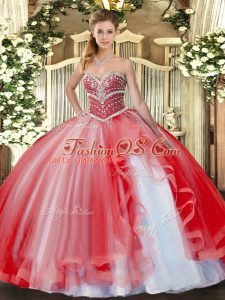Elegant Sweetheart Sleeveless Tulle Sweet 16 Quinceanera Dress Beading and Ruffles Lace Up