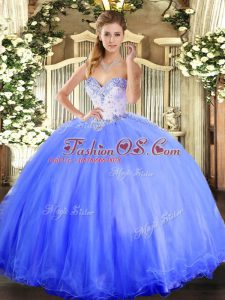 Blue Tulle Lace Up Sweetheart Sleeveless Floor Length Quinceanera Gown Beading