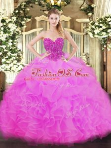 Amazing Fuchsia Sleeveless Floor Length Beading and Ruffles Lace Up Quinceanera Dresses