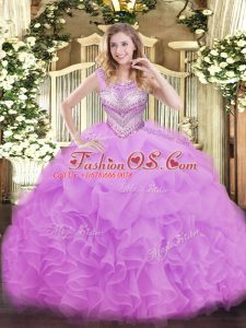 Nice Lilac Organza Lace Up Vestidos de Quinceanera Sleeveless Floor Length Beading and Ruffles and Pick Ups