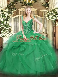 Turquoise Ball Gowns Beading and Ruffles Quinceanera Gown Lace Up Tulle Sleeveless Floor Length