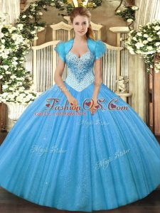 Spectacular Floor Length Ball Gowns Sleeveless Aqua Blue Sweet 16 Dresses Lace Up
