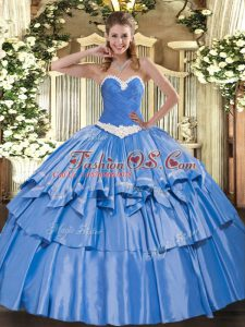 Beautiful Floor Length Lace Up Vestidos de Quinceanera Blue for Military Ball and Sweet 16 and Quinceanera with Appliques and Ruffled Layers