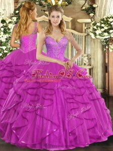 Delicate Sleeveless Floor Length Beading and Ruffles Lace Up 15 Quinceanera Dress with Fuchsia