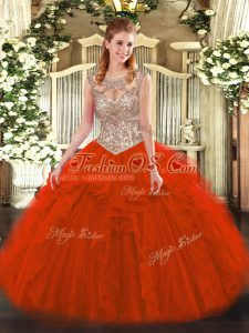 Red Ball Gowns Tulle Scoop Sleeveless Beading and Ruffles Floor Length Lace Up 15 Quinceanera Dress