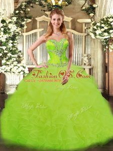 Flirting Floor Length Ball Gowns Sleeveless Yellow Green Vestidos de Quinceanera Lace Up