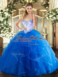 Unique Blue Lace Up 15th Birthday Dress Beading and Ruffles Sleeveless Floor Length