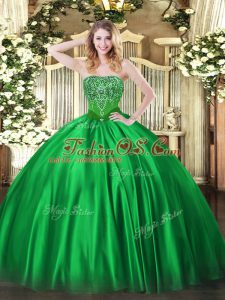 Popular Floor Length Green Sweet 16 Dress Strapless Sleeveless Lace Up