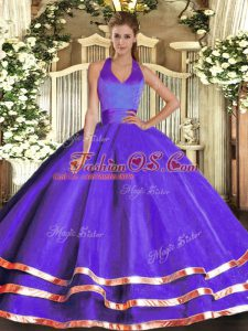 Purple Lace Up Quinceanera Dress Ruffled Layers Sleeveless Floor Length
