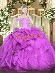 Sleeveless Organza Floor Length Lace Up Sweet 16 Quinceanera Dress in Lilac with Beading and Ruffles