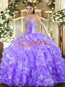Affordable Organza Sweetheart Sleeveless Lace Up Beading and Ruffled Layers 15th Birthday Dress in Lavender