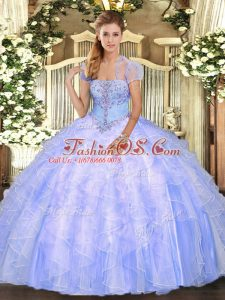 Light Blue Sleeveless Tulle Lace Up Sweet 16 Dresses for Military Ball and Sweet 16 and Quinceanera