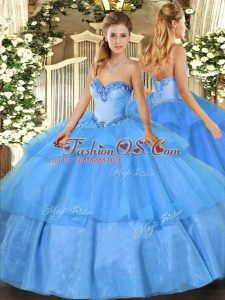 Modest Floor Length Baby Blue Vestidos de Quinceanera Sweetheart Sleeveless Lace Up