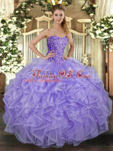 Attractive Sweetheart Sleeveless Lace Up Quince Ball Gowns Lavender Tulle