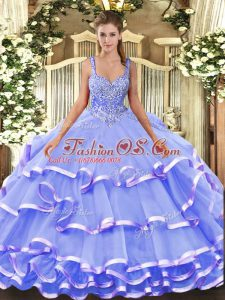 Lavender Straps Lace Up Beading and Ruffled Layers Quinceanera Gowns Sleeveless