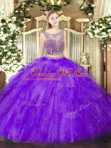 Scoop Sleeveless Lace Up Quinceanera Gown Lavender Tulle