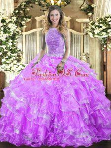 Luxury Sleeveless Lace Up Floor Length Beading and Ruffled Layers Vestidos de Quinceanera