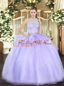 Lavender Quince Ball Gowns Military Ball and Sweet 16 and Quinceanera with Lace Scoop Sleeveless Zipper