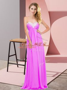Lilac Chiffon Lace Up Party Dress Wholesale Sleeveless Floor Length Ruching