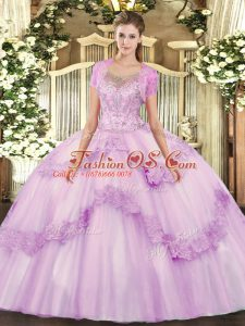 Lilac Ball Gowns Beading and Appliques Ball Gown Prom Dress Clasp Handle Tulle Sleeveless Floor Length