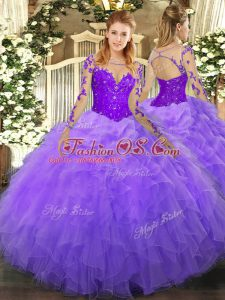 Shining Scoop Long Sleeves Organza Quinceanera Dress Lace and Ruffles Lace Up