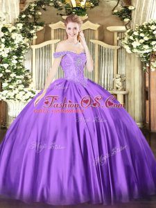 Satin Off The Shoulder Sleeveless Lace Up Beading Sweet 16 Quinceanera Dress in Purple