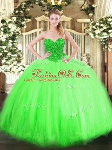 Artistic Sleeveless Floor Length Beading Lace Up Vestidos de Quinceanera with