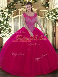 Colorful Hot Pink Tulle Backless Scoop Sleeveless Floor Length 15 Quinceanera Dress Beading