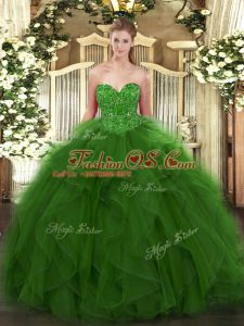 Custom Design Ball Gowns Sweet 16 Dresses Green Sweetheart Tulle Sleeveless Floor Length Lace Up