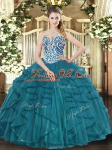 Discount Sleeveless Floor Length Beading and Ruffles Lace Up Quinceanera Dresses with Teal