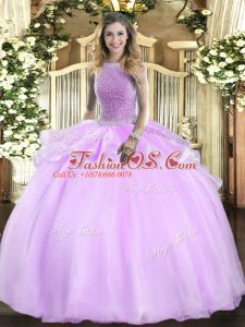 Wonderful Floor Length Lilac Sweet 16 Dress Organza Sleeveless Beading