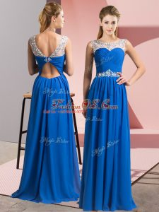 Chiffon Sleeveless Floor Length Party Dress for Girls and Beading