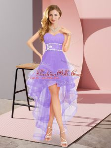 Pretty Lavender Lace Up Sweetheart Beading Prom Gown Tulle Sleeveless