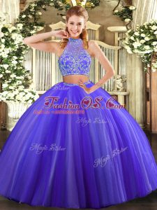 Tulle Halter Top Sleeveless Criss Cross Beading Sweet 16 Dress in Purple