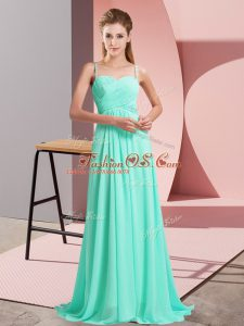 Pretty Sweep Train Empire Juniors Party Dress Turquoise Spaghetti Straps Chiffon Sleeveless Backless