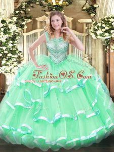 Ideal Apple Green Lace Up Scoop Beading and Ruffles Quinceanera Dresses Tulle Sleeveless