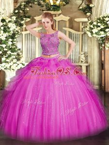 Floor Length Two Pieces Sleeveless Fuchsia Sweet 16 Dress Lace Up