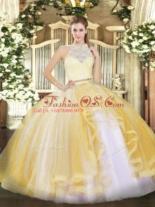 Sleeveless Tulle Floor Length Zipper Sweet 16 Dress in Gold with Lace and Ruffles