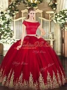 Wine Red Tulle Zipper Quinceanera Gowns Short Sleeves Floor Length Appliques