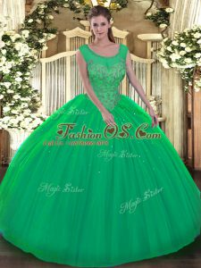 Scoop Sleeveless Quinceanera Gowns Floor Length Beading Green Tulle