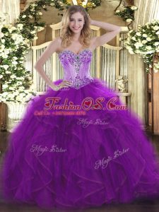 Floor Length Eggplant Purple Sweet 16 Dress Sweetheart Sleeveless Lace Up