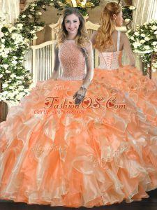 Orange Red Lace Up High-neck Beading and Ruffles Ball Gown Prom Dress Organza Sleeveless