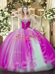 Sweetheart Sleeveless Quinceanera Dress Floor Length Beading and Ruffles Fuchsia Tulle