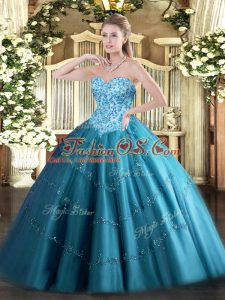 Teal Tulle Lace Up Sweetheart Sleeveless Floor Length 15th Birthday Dress Appliques