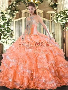 Top Selling Orange Red Ball Gowns Sweetheart Sleeveless Organza Floor Length Lace Up Beading and Ruffled Layers Quinceanera Gowns