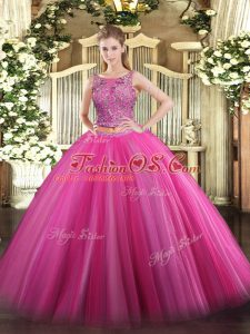 Ideal Scoop Sleeveless Lace Up 15 Quinceanera Dress Hot Pink Tulle