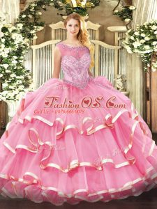 Nice Organza Sleeveless Floor Length Sweet 16 Quinceanera Dress and Beading and Ruffled Layers