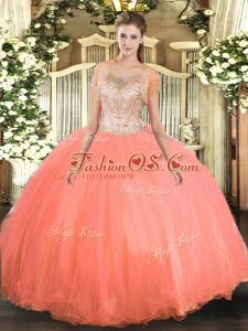 Watermelon Red Sleeveless Beading Floor Length Quinceanera Dress